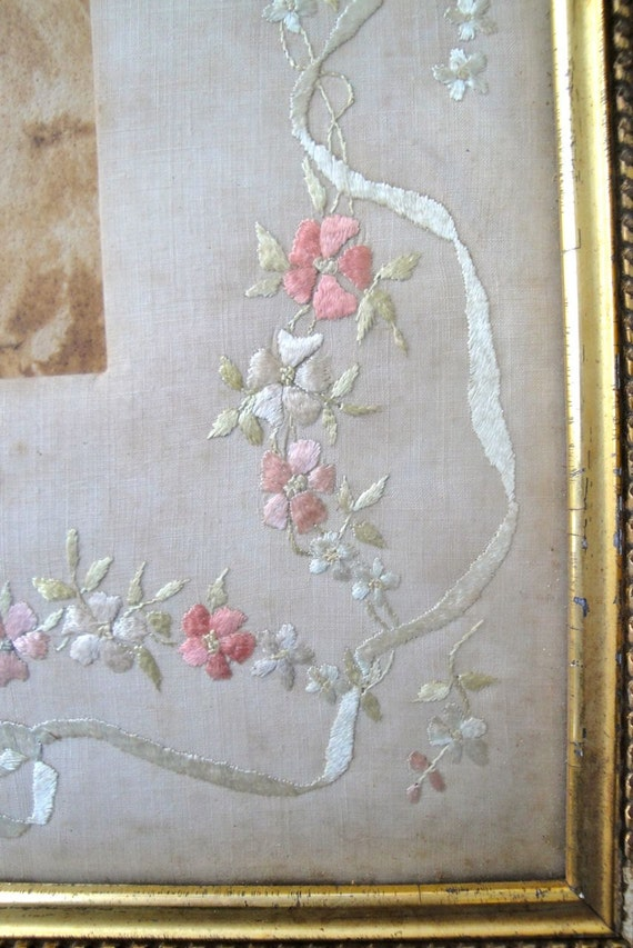 RESERVED FOR KATHERINE Antique Frame Embroidery Victorian Picture Photo Flowers Gilt Bronze French Inspired