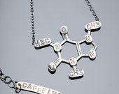 Caffeine Chemical Structure Necklace in Sterling Silver