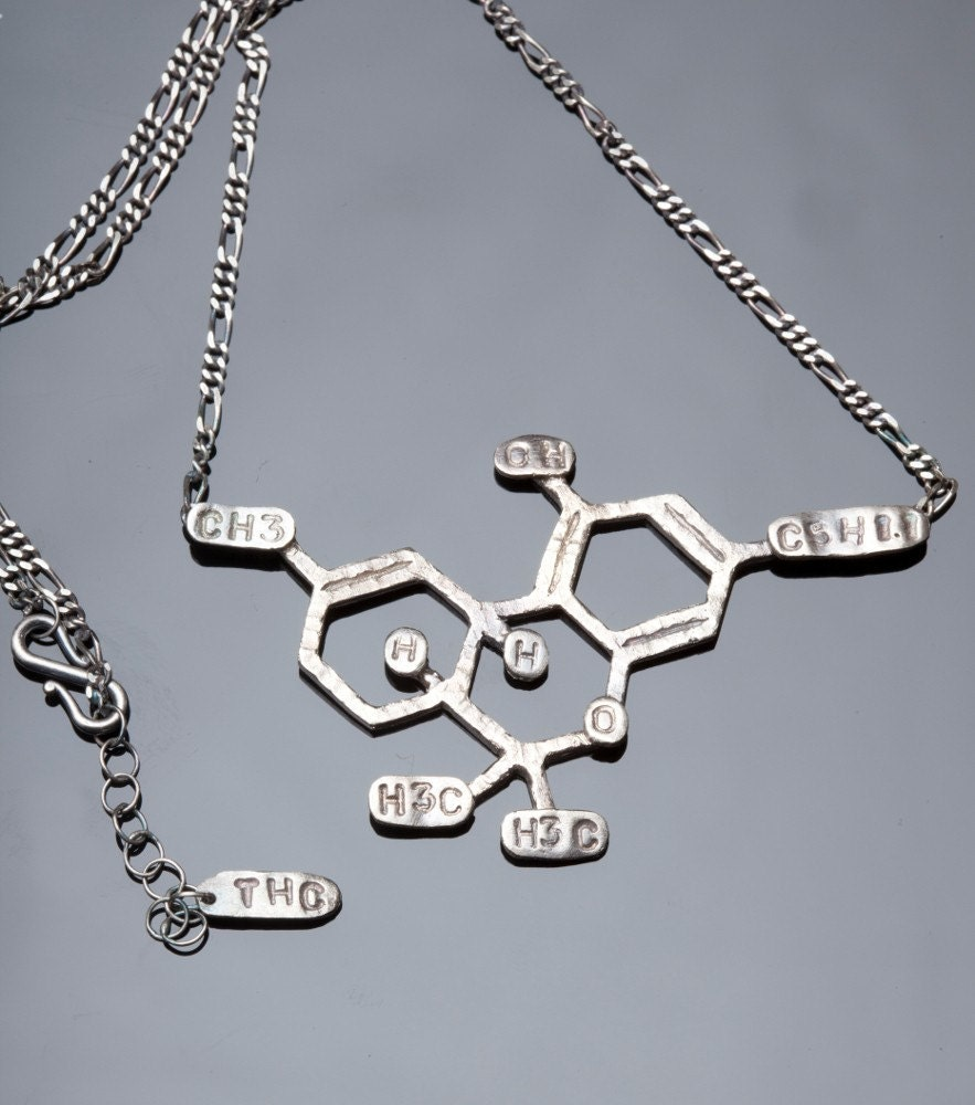 thc chemical structure necklace in sterling silver