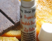 Organic Chocolate Orange Lip Balm made with Organic Cocoa Butter and Organic Orange Essential OIl  in a twist tube