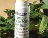 Organic Lip Balm Vanilla Mint made with local beeswax plus REAL Tahitian Vanilla Bean plus Fair trade shea butter