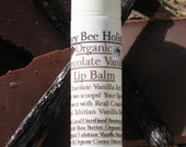 Organic Chocolate Vanilla Lip Balm includes Organic Cocoa Butter and Organic Cacao Essential Oil in a twist up tube