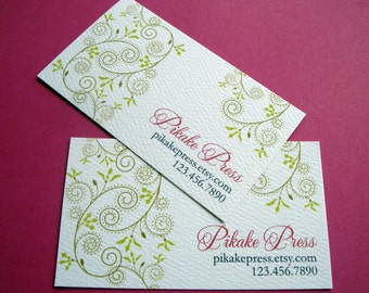 Personalized Business Cards, Custom Business Card, Vine, Set of 50