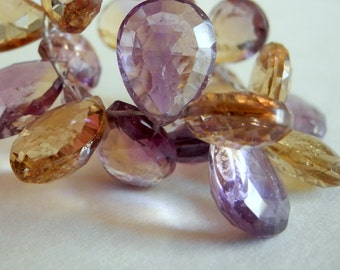 Amethyst Citrine Faceted Pear Briolettes Semi Precious Gemstone 16mm 18mm 2 Pieces Pair
