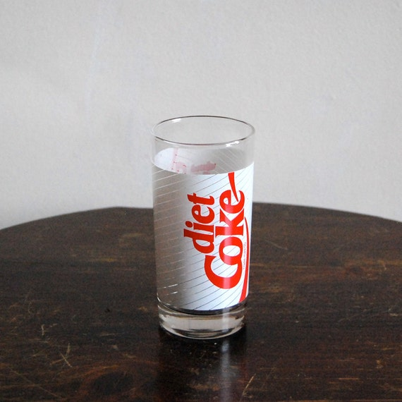 Vintage Diet Coke Glass - Classic Red and White - Barware