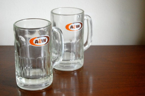 Vintage A and W Root Beer Mugs - Set of Two - Vintage Glasses - AW