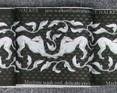 Art Nouveau Greyhound Fabric Trim, black and silver grey