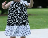 Ruffle Pillowcase Dress featuring Ironwork in Ebony by Michael Miller, Size 6 mo. to size 8.