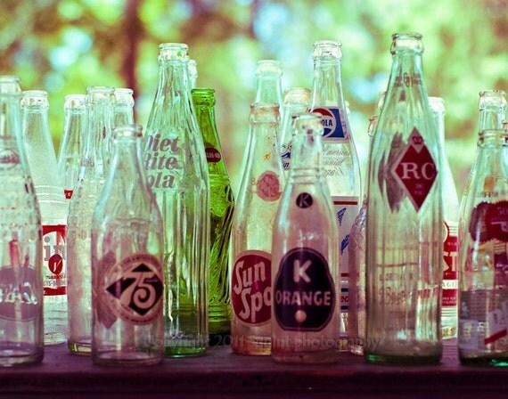 Fine Art Photograph, Vintage Decor, Vintage Soda Bottles, Green Glass, Wall Art, Still Life Photo, Fine Art Print, Mid Century Modern, Retro