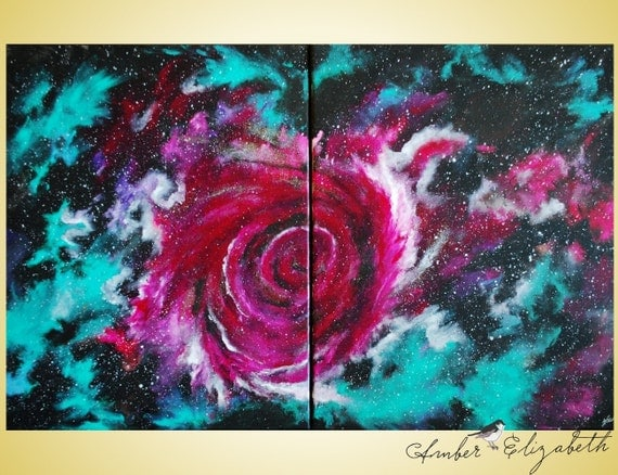 40% Off Stardust Melody Large Original Painting 32 x 20 Acrylic Canvas Surreal Art Amber Elizabeth Lamoreaux Space Galaxy Pink Green Stars