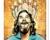 Big Lebowski's Enlightenment Through Bowling - 12x18 Officially Signed, Dated and Hand-Stamped Art Print