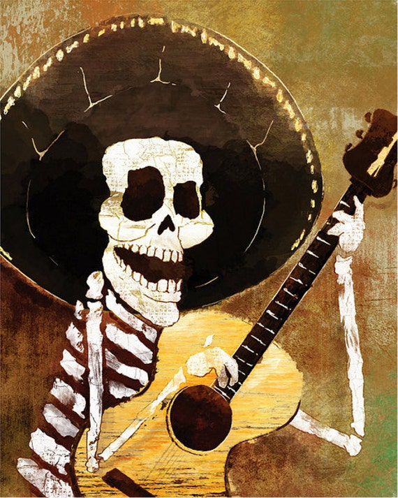 Dia de los Muertos Calavera Musician - 12x18 High Quality Art Print