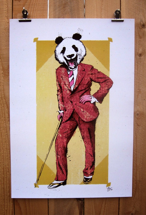 Hey There, Panda Bear - 12x18 Officially Signed, Dated and Hand-Stamped Art Print