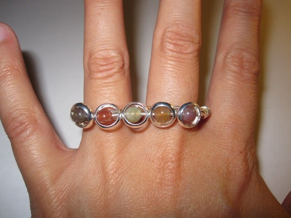 Beaded Rings Two Finger Ring Silver Plated Wire Wrapped Double Finger Ring