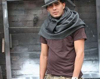 Men's Gray Scarves / Winter Accessories / Wool charcoal gray scarf wrap / Leather / Holiday Gifts for HIm