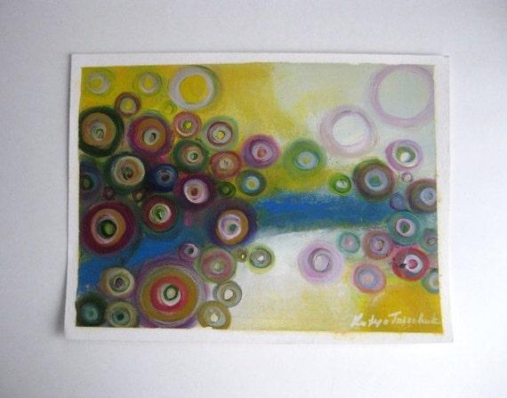Original Oil on Paper painting Orbital - 12