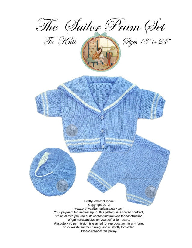 Knitting Pattern For Sailor Doll : Vintage Digital Knitting Pattern Baby Sailor Suit Pram Set