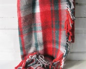 Vintage Wool Blanket Retro Red Plaid Troy Throw Picnic from Tessiemay
