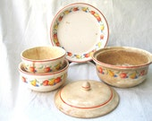 Vintage Dish Set-Baking-Serving-Old-Rustic-Shabby-Harker Hotoven-1930s from Tessiemay