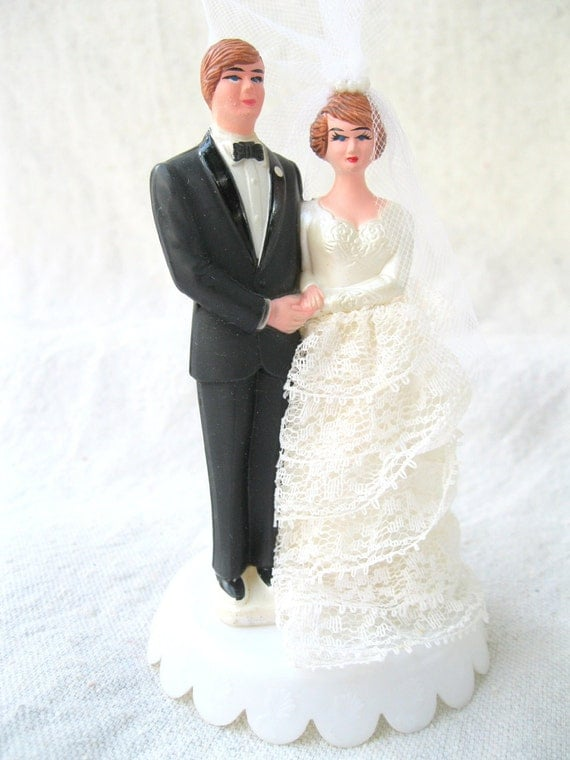 Vintage Bridal Couple Cake Topper Retro 70's Wedding Decor from Tessiemay