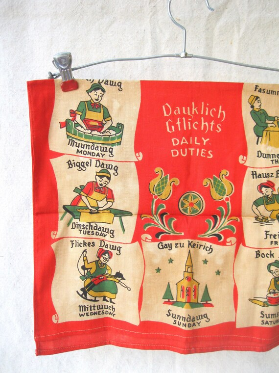 Vintage Tea Towel /German/ Housewife's Daily Duties/ Red/ White /Farm from Tessiemay