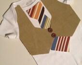 Khaki vest with orange, blue and red stripe Tie. Sizes newborn-4T