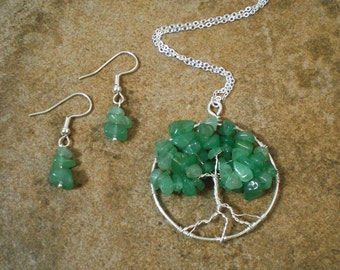 Tree of Life in Aventurine and Silver