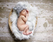 Newborn Baby Boy or Girl White and Gray Bear Earflap Crochet Hat, Great for Photo Prop