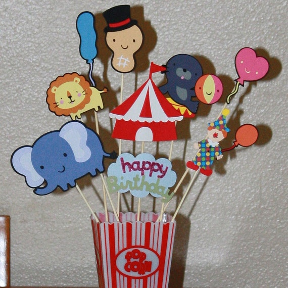 Circus carnival theme party centerpiece for a child's party new popcorn pail