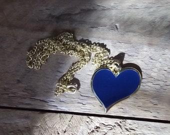 Vintage Heart Necklace Pendant Long Chain Blue Jewelry