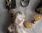 Carved Ocean Jasper  Octopus Necklace Set