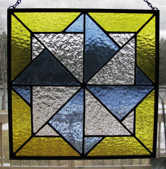 Twisting Star Quilt Pattern Stained Glass Panel