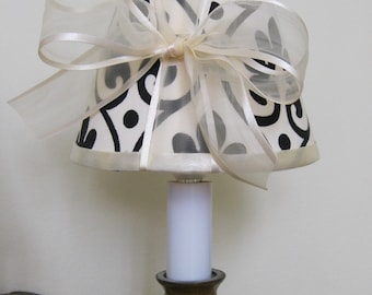 Chandelier Lamp Shades Black and Cream with Cream Bow