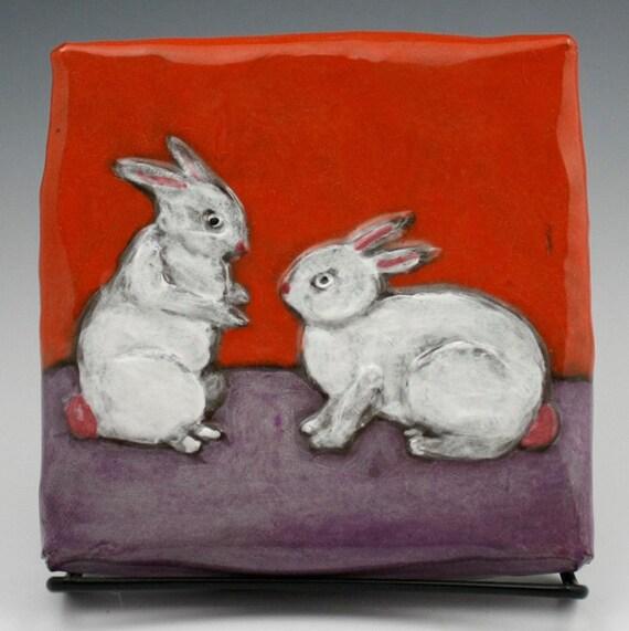 "Love Bunnies ""Stuck on the Wall"" Ceramic Wall Tile Illustration"