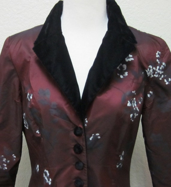 Vintage-70s-Burgundy-Painted Flowers-Opera Maxi Coat-7-8