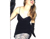 SaLe The ReaL BOMBSHELL DreSS 80s Black Viscose Velvet Bodycon Dress with Spaghetti Straps and Rhinestones S/M