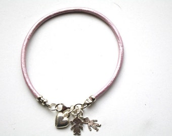 Pink Leather Bracelet, leather Charm bracelet, Pink Bangle with silver Heart Charms, New Mom Jewelry, Sterling Silver Children Charms