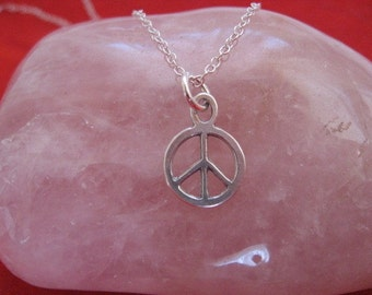 Peace Necklace, Peace Sign Charm, Simple Charm Necklace,  Peace Sign Pendant Necklace, Hippie Jewelry, Boho Chic