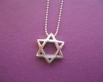 Star of David Necklace, Modern Star of David, Jewish Star Pendant, 3D Modern Slider Star Necklace, Sterling Silver Necklace, Minimal Charm