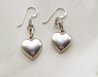 Simple Heart Earrings, Sterling Silver Heart Charm, Everyday Jewelry