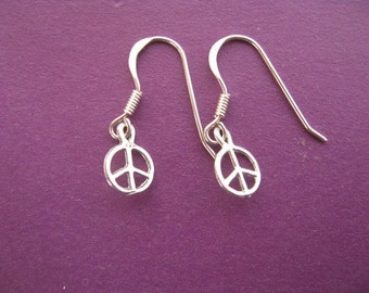 Peace Earrings, Peace Sign, Simple Peace Sign Earrings, Sterling Silver Charm Earrings, Peace Charm, Hipster Earrings,  Hippie Jewelry