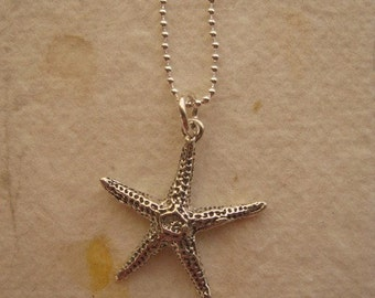 Starfish Necklace, Starfish Charm, Beach Necklace, Starfish Necklace Pendant Sterling Silver Beach Jewelry, Surfer Necklace, Elegant Charm