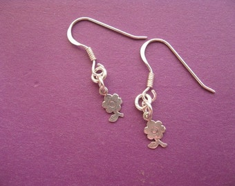 Dainty Flower Earrings, Sterling Silver Charm Earrings, Simple Flower Earrings