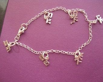 Kabbalah Bracelet,Silver Charm Bracelet, Kabbalah Wisdom Charm Bracelet, Hebrew Letters, Silver Hebrew Letters, Jewish Bracelet