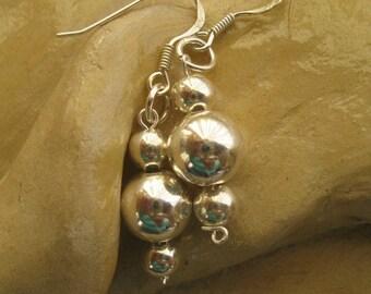 Silver Ball Earrings, Everyday Dangle Earrings, Simple Jewelry,Sterling Silver Ball Earrings Graduated Beads, Dangle Earrings