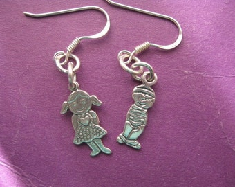 Boy and Girl Earrings, Child Charm Dangling Earrings, Silver Charm Earrings, Sterling Silver Earrings, Children Charm, Childrens Jewelry