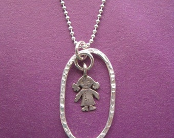Little Girl Charm Necklace with Dangling Silver Oval Eternity Circle Karma Circle