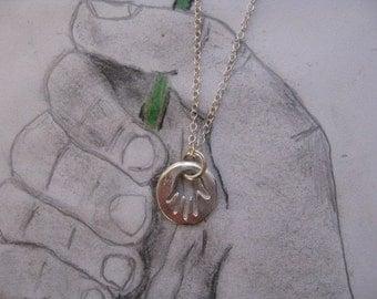 Dainty Hamsa Necklace, Silver Hamsa Hand, Sterling Silver Hamsa Necklace, Hand Charm Necklace,Hamsa Charm, Modern Hamsa, Mens Necklace