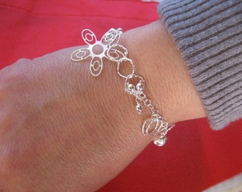 Silver Bracelet, Silver Charm Bracelet Sterling siver Dangling Flower Charm, Silver Friendship Bracelet, Elegant Bracelet