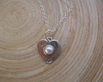 Pearl Bead in a Sterling Silver Heart Pendant Necklace